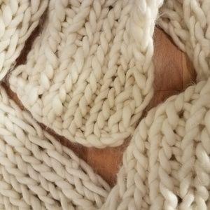 Long Acrylic Cream Knit Scarf